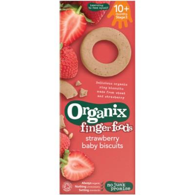 Braškių skonio sausainiai kūdikiams nuo 10 mėn., ekologiški (54 g)