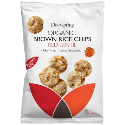 Nekepti rudųjų ryžių traškučiai su raudonaisiais lęšiais, ekologiški (60 g)