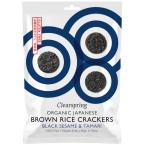 Rudųjų ryžių krekeriai su juodaisiais sezamais ir tamari, ekologiški (40 g)