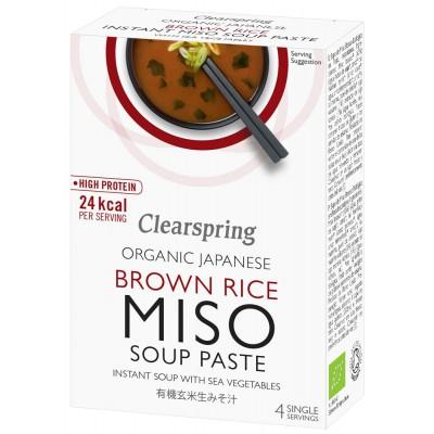 """Rudųjų ryžių """"Miso"""" pasta sriubai su jūros daržovėmis, ekologiška (4 pak. x 15 g)"""