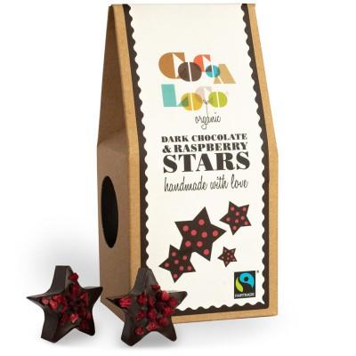 Juodojo šokolado žvaigždutės su avietėmis, ekologiškos (100 g)