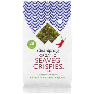 """Jūros daržovių traškučiai """"Seaveg crispies"""" su čili pipirais, ekologiški (5 g)"""