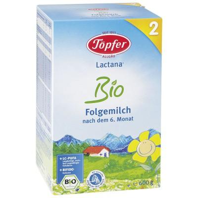LACTANA BIO 2 tolesnio maitinimo pieno mišinys kūdikiams, vyresniems kaip 6 mėn., ekologiškas (600 g)
