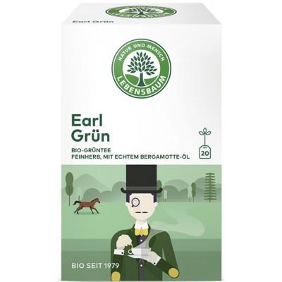 """Žalioji arbata """"Earl green"""" su bergamočių ir citrinų aliejais, ekologiška (20 pak. x 1.5 g)"""
