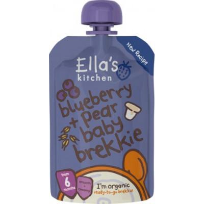Mėlynių ir kriaušių tyrelė su jogurtu ir ryžiais kūdikiams nuo 6 mėn., ekologiška (100 g)
