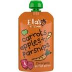 Morkų, obuolių, pastarnokų tyrelė kūdikiams nuo 4 mėn., ekologiška (120 g)