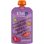 Saldžiųjų bulvių, moliūgų, obuolių ir šilauogių tyrelė kūdikiams nuo 4 mėn., ekologiška (120 g)