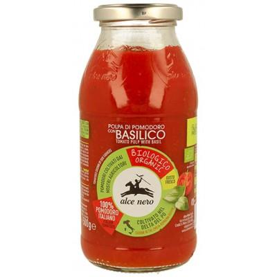 Pjaustytų pomidorų tyrė su bazilikais, ekologiška (500 g)