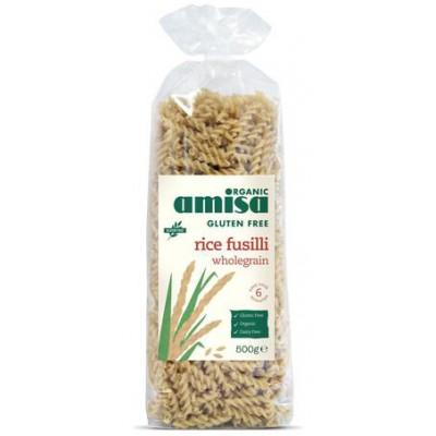 Pilno grūdo ryžių makaronai FUSILLI, be glitimo, ekologiški (500 g)