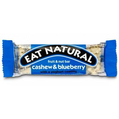 Batonėlis su anakardžiais, mėlynėmis ir jogurtiniu glaistu (45 g)