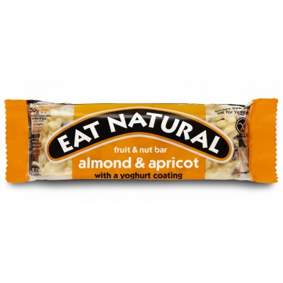 Batonėlis su migdolais, abrikosais ir jogurtiniu glaistu (50 g)