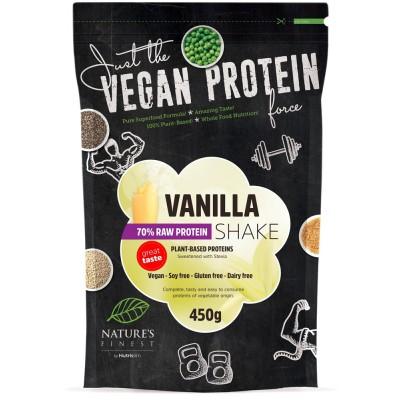 Augalinių baltymų kokteilis 70%, vanilės skonio, ekologiškas (450 g)