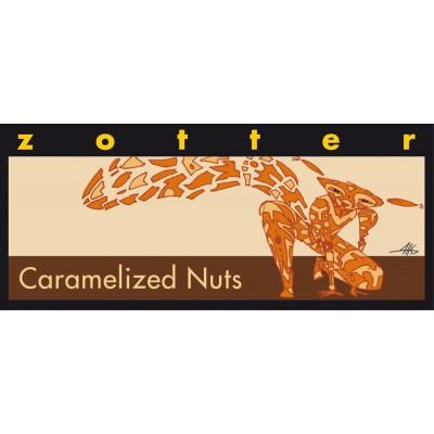 Skrudinti karamelizuoti lazdynų riešutai juodajame šokolade, ekologiški (100 g)