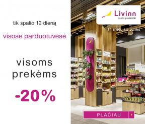 Tik spalio 12 dieną VISOMS prekėms -20% nuolaida VISOSE parduotuvėse
