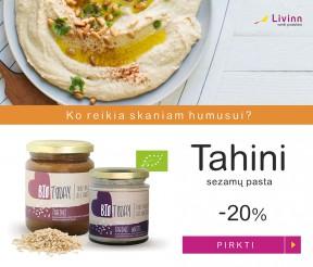 -20% nuolaida ekologiškoms sezamų pastoms Tahini