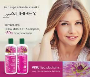 """Perkantiems """"Aubrey"""" ROSA MOSQUETA šampūną -50% kondicionieriui"""