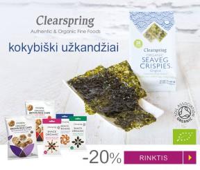 """-20% ekologiškiems """"Clearspring"""" užkandžiams"""
