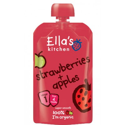 Braškių ir obuolių tyrelė kūdikiams nuo 4 mėn., ekologiška (120 g)